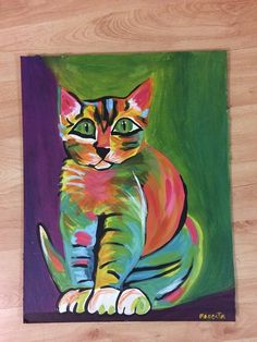 ©Magenta. Gato en acrílico sobre cartón gris. Disponible.