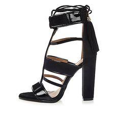 Black caged T-bar block heels - sandals - shoes / boots - women