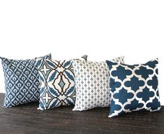 Throw pillow covers Set Of Four blue natural chocolate brown cushion cover pillow shams by ThePillowPeople on Etsy https://www.etsy.com/listing/160119238/throw-pillow-covers-set-of-four-blue