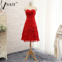 >> Click to Buy << Vnaix B3081 Short Puffy Sweetheart A Line Keen Length Red Bridesmaid Dresses Plus Size Party Wedding Gowns Under 50 #Affiliate