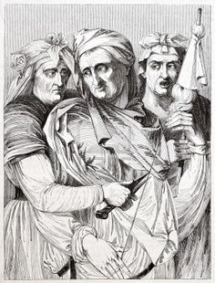 The three Fates, after Michelangelo's painting preserved in the Pitti Palace, Florence.