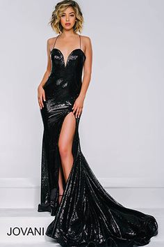 Black High Slit Sequin Dress 40436