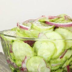 Easy Vinegar Marinated Cucumbers (Cucumber Salad) with Cucumbers, Red Onion, Apple Cider Vinegar, Sugar, Water, Salt.