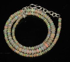 """33Ctw1Necklace 3to5.5 mm 16""""Beads Natural Genuine Ethiopian Welo Fire Opal 97366"""