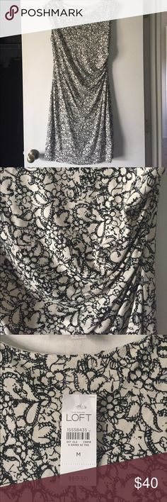 NWT Loft dress black and beige This dress is stretchy and flattering because of the ruching waist. It has a lining underneath as well. It's NWT with no flaws LOFT Dresses
