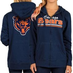 Women's Chicago Bears Navy Blue Full Zip Hoodie distressed screen print image - not sure if back image is included