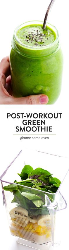 This healthy Post-Workout Green Smoothie recipe is chocked full of simple ingredients that will give you a delicious energy boost after a good workout! | http://gimmesomeoven.com