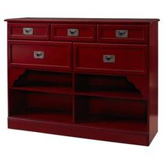 "Asian-inspired console with 5 drawers and 4 lower shelves.  Product: ConsoleConstruction Material: Particle board and MDFColor: RedFeatures:  Four storage shelvesFive drawers Dimensions: 36"" H x 48"" W x 14"" D"