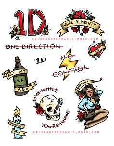 Sailor Jerry-style One Direction tattoo flash because why the hell not!!!Inspired entirely by the lovely Kate (flashordie)If anyone gets one of these tattooed please let me know because I wanna see that shit!!!!