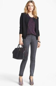 Purple blouse, black blazer, grey trousers, lilac ankle booties -- work / professional outfit