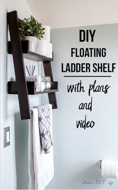 This is the shelf I have been waiting for!! This DIY floating ladder shelf is so genius! #woodworking #shelves