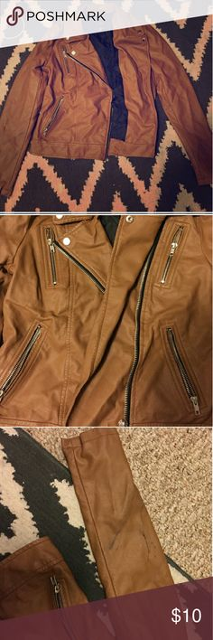 Forever 21 tan cognac leather jacket Super cute but it's just not my style and I need the extra cash it's got a slight rip on one sleve but it's still super cute to wear and definitely still keeps you warm Forever 21 Jackets & Coats