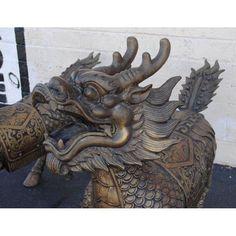 Foo Dog Dragon Sculptures - Pair