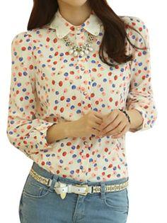 Fruit Print Polo Collar Long Sleeve Chiffon Blouse