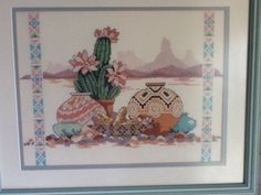 A Taste of the Southwest Cross Stitch Completed Matted Framed Cactus Pot