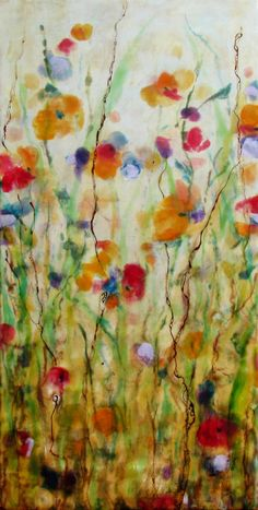 Original Encaustic Painting Wild Poppies Encaustic by KLynnsArt, $175.00