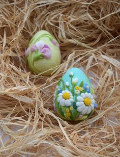 Easter Egg Ornament Felted Flowers Decorations by LifeandWool