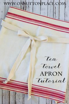 The best DIY projects & DIY ideas and tutorials: sewing, paper craft, DIY. Diy Crafts Ideas Easy tutorial on how to make a tea towel apron. Uses quick straight line sewing. Would make a great gift for anyone who loves to cook! Sewing Hacks, Sewing Crafts, Diy Crafts, Towel Crafts, Hand Crafts, Sewing Tutorials, Craft Projects, Sewing Projects, Project Ideas