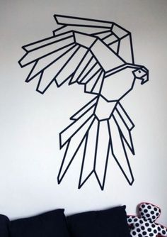 Geometric parrot for wall decoration with masking tape. See more ideas via homelysmart.com