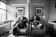 (3) Daughter's touching photographs chronicle her parents' joint battle with cancer: Howie calls these 'his and hers' chairs as he sits beside Laurel for their weekly chemotherapy treatment.