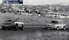 Peter Gough being chased by Scamp Porter coming out of BP at Hesketh.