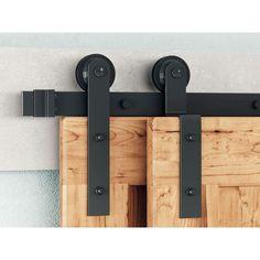 Barn Door Hardware | Double barn door hardware - Rustic Rolling Doors Bypass Barn Door Hardware, Double Barn Doors, Door Stopper, Black Doors, Interior Barn Doors, Sliding Doors, Modern, Design, Barn Door Pantry