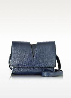 JIL SANDER View Open Blue Cross Printed Leather Small Shoulder Bag. #jilsander #bags #shoulder bags #hand bags #suede #lining #