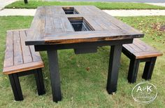 Free DIY Furniture Plans to Build a Rustic Outdoor Table with Built