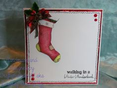 For this week I have had a another go at clean and simple with the new Stocking Digi from LEJ Designs coloured with promarkers and then just stamped a sentiment from  papermania, drew in a little border with a fine liner, layered on to holographic card and then added a little pine cone embellishment ribbon and pearls.
