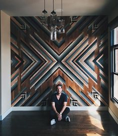 wall installation for is done and done. This bad boy was made from wood rescued from a home-built in the… Wooden Wall Art, Wooden Walls, Wood Wall Art Decor, Veranda Design, Nashville, Wall Installation, Wall Treatments, Wood Design, Design Design