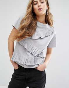 Daisy Street T-Shirt With Ruffle Trim can be worn to work with a blazer or dressed up for happy hour.