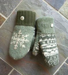 snowflake wool mittens from muttonsonline.com