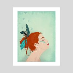 """#INPRNT #illustration #print #poster #art   """"Dreaming of Flying (part of the I am Magic series)"""" by @MagicSybille https://www.inprnt.com/gallery/sybille/dreaming-of-flying-part-of-the-i-am-magic-series/  #art #sybillesterk #woman #feathers #female #dream #magic"""