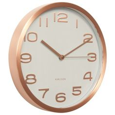 The Karlsson Maxie Wall Clock in White with Copper numbers is a stylish timepiece which will effortlessly bring class and style to any room. It's white face is beautifully complemented by the warm tone of the copper hands and numbers and will create an Wall Clock Copper, White Wall Clocks, Minimalist Wall Clocks, Modern Minimalist Living Room, Minimalist Apartment, Minimalist Lifestyle, Modern Living, Traditional Clocks, Mint Green Walls