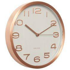 Karlsson Maxie Copper Clock - White - minimalist wall clock