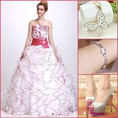 A-Line Floor-Length Strapless Angerlika's Quinceanera/Ball Gown Dress #Outfit #Bracelet #Shoes #fashion #fresfashion