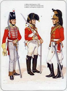 1_Officer, 6th Dragoons,1811 2_Trooper, 3rd Dragoon Guards 1811 3_Officer, 1st Dragoons Guards 1813