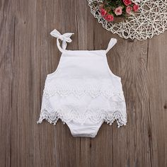 aae03ba09bb Newborn Baby Girls Lace Sleeveless Romper Cotton Jumpsuit Outfit Sunsuit  Flower Clothes 0-18M!