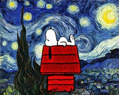 Design DIY Painting By Numbers - Snoopy Under Starry Night Snoopy Love, Charlie Brown And Snoopy, Snoopy And Woodstock, Starry Night Art, Starry Nights, Snoopy Pictures, Snoopy Wallpaper, Van Gogh Art, Diy Painting