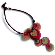 Fabric Multicolored Poppy Flower Necklace Nature Inspired - V Handmade OOAK Taffeta by mammamiaeme on etsy