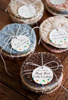 Handmade Gift Idea: Hand-Knit & Crochet fabric-backed Calla Coasters #knit #crochet #sewing #craft