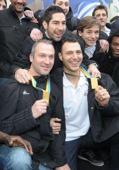 Jerome Fernandez , Nikola Karabatic .Thierry Omeyer golden french handball players