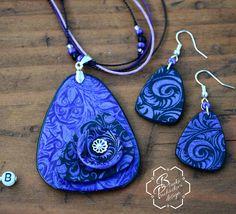Blanka Procházková: polymer clay mica shift pendant and earrings. Fialová souprava mica s mističkou.