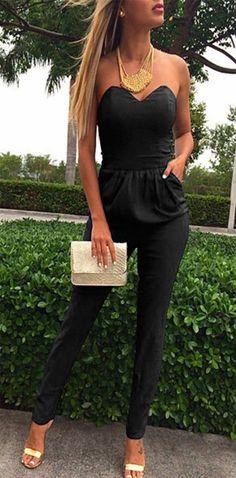 Schwarz Bandeau Schulterfrei Taschen Sexy Lange Overall Jumpsuit Clubwear Festlich Elegante Damenmode