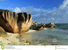 Beach Anse Source D'Argent, Rocks Royalty Free Stock Images ...