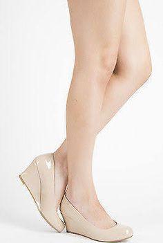 Beige Nude Closed Toe Patent Leather Med Low Wedge Heel Women