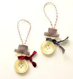 Handmade Button Snowman or Snowwoman Christmas by HomemadeByKate