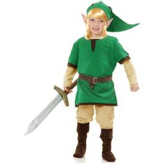 Zelda: Link the Warrior Elf Kids Costume  Includes: Tunic, hat, belt, boot tops. Not included: Wig, ears, sword, pants, shoes.  Features : Includes: Tunic, hat, boot covers, belt *Medium fits ages 8-10, Large Fits Ages 10-12 *MEDIUM  Color : Green