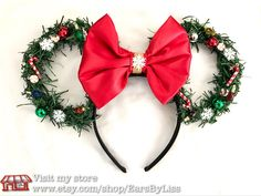 CLEARANCE SALE!!! Christmas Wreath Disney Ears , Minnie Mouse ears, Mickey's Very Merry Christmas Party, Disney World Parks, Light up ears by EarsbyLiss on Etsy https://www.etsy.com/listing/485703020/clearance-sale-christmas-wreath-disney