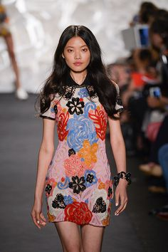 Naeem Khan showcases a dazzling array of flirty and feminine dresses.